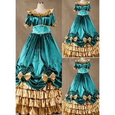 Discount Short Sleeves Ruffles Bowknot Blue and Golden Gothic Victorian Dress on Sale