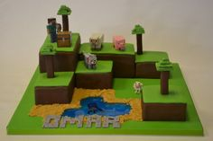 Staggered rectangular cakes covered in chocolate and green sugarpaste with minecraft trees and plastic animals and character. Finished off with a personalised message in the minecraft font. Ideal for a boys birthday or a minecraft fan. Zombie Birthday Cakes, 10 Birthday Cake, Harry Birthday, Novelty Birthday Cakes, Boy Birthday, Birthday Ideas, Bolo Minecraft, Minecraft Birthday Cake, Minecraft Party
