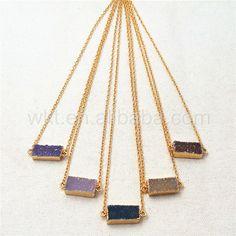 WT-N818 Wholesale Natural rectangle druzy bar agate necklace