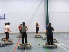 TRAMPOLINE JUMP EXERCISE AT FITFARMS FITNESS CAMP   Little trampolines are always received well on the fitness camp.  Typically in a www.FitFarms.co.uk class we will have 8 guests on the trampolines so techniques can be analysed and improved.
