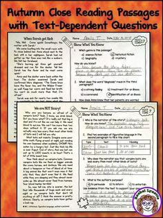 Ready to use reading skills practice with an Autumn theme! 20 Fall-themed passages at two reading levels (3/4 and 4/5). Challenging text-dependent questions all on one page! #textdependentquestions #ELA #closereading