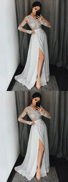 Lace Prom Dresses, White Prom Dresses, Long Prom Dresses, A-line Prom Dresses V-neck, Chiffon Prom Dresses For Teens, 2018 Prom Dresses Modest