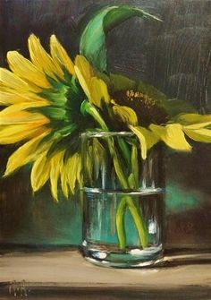 """Daily Paintworks - """"Sunflowers in Glass of Water"""" by Mary Ashley"""
