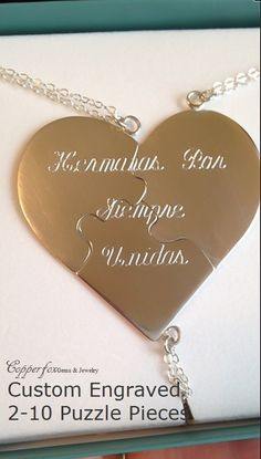 "Sterling Silver Custom Engraved Puzzle Heart Necklace ""A Piece Of My Heart"" - Bridesmaids - Valentine by CopperfoxGemsJewelry on Etsy"