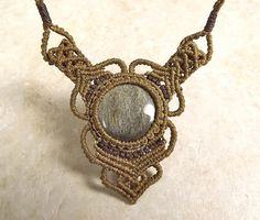 Macrame Necklace, Gold Sheen Obsidian Pendant, Olive And Brown