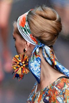 scarf headband = hair twist = huge earrings = bold prints
