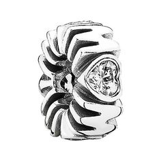 PANDORA 'Mother's Pride' Spacer Charm (860 CZK) ❤ liked on Polyvore featuring jewelry, pendants, heart jewelry, heart shaped jewelry, pandora jewelry, charm pendant and pandora charms