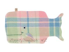 Whale Hottie Cover  Apple blue  pink and cream by zippitydoodahNZ
