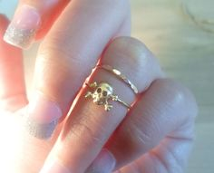 Skull and Crossbones Knuckle Ring-Layering Above the Knuckle Gold Brass Stackable Midi Ring on Etsy, $9.50