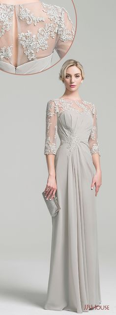 A-Line/Princess Scoop Neck Floor-Length Chiffon Mother of the Bride Dress With Ruffles! Order now all styles, sizes & colors. Tailor-made to fit you, custom size available. #mother