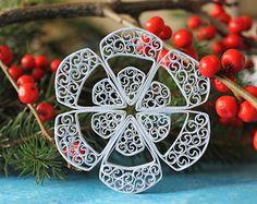 Copo de nieve MERIBEL  papel quilled ornamento  decoración