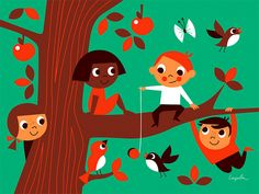 Friends in tree by Ingela P Arrhenius