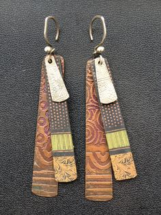 Hand painted and etched with silver earrings - Kim Otterbein Design Head pins
