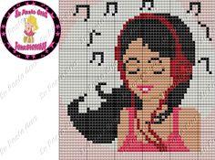 Cute Cross Stitch, Cross Stitch Charts, Cross Stitch Embroidery, Cross Stitch Patterns, Fuse Beads, Hama Beads, Music Logo, Brick Stitch, Betty Boop