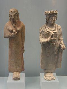 Etruscan terracotta female statues C.600BC
