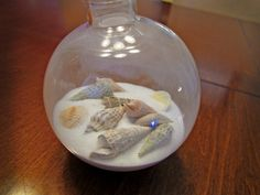 Use seashells from vacation to create a Christmas ornament. Decorate with memories from vacation destination & date!