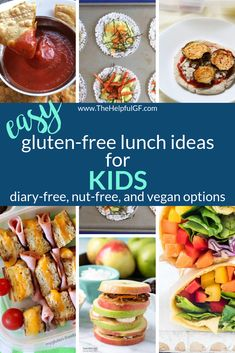 now for a master list of quick and easy gluten-free lunch ideas for kids. -Pin now for a master list of quick and easy gluten-free lunch ideas for kids. Dairy Free Recipes For Kids, Healthy Gluten Free Recipes, Gluten Free Lunch Ideas, Gluten Free Lunches, Healthy Recipes For Kids, Gluten Free Meal Plan, Healthy Lunches, Allergies Alimentaires, Snacks Sains