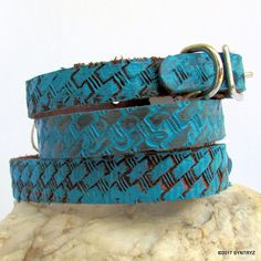 Basket Weave Pattern Turquoise Blue Leather Dog Collar Handmade Solid Genuine Real Leather by Syntryz on Etsy