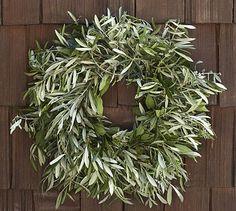 Live Olive Leaf & Myrtle Wreath #potterybarn