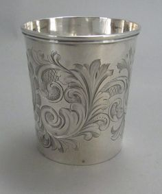 Antique Engraved Silver Mint Julep Cup - would be pretty for holding makeup brushes!