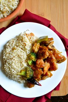 General Tso's Chicken (Lighter Version) with Indian Jeera Rice
