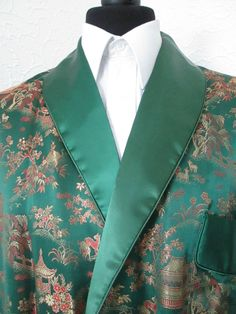 vintage silk satin brocade dressing gown smoking jacket robe green gold m/l £32.00