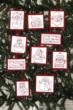 A cheerful gang of Machine Embroidery RedWork Snowmen Ornaments to add to your Christmas tree, decorate a wreath or tie an ornament on a special gift package! Folk Embroidery, Christmas Embroidery, Machine Embroidery Patterns, Quilt Patterns, Christmas Sewing, Christmas Crafts, Christmas Ornaments, Christmas Tree, Homemade Christmas