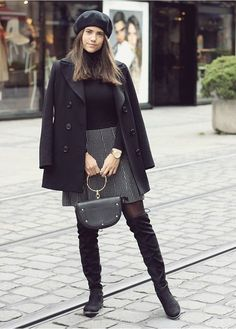 Outfit Herbst, Winter, Fashion, OOTD, Look, Overknees Trendy Fall Outfits, Fall Winter Outfits, Pretty Outfits, Autumn Winter Fashion, Winter Style, Going Out Outfits, Winter Dresses, Online Shopping Clothes, Short Skirts