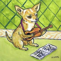 CHihuahua dog banjo 8x10  artist prints animals impressionism gift new