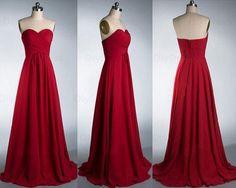 Elegant A Line Chiffon Bridesmaid Dresses http://banquetgown.storenvy.com/products/15973578-elegant-a-line-chiffon-bridesmaid-dresses-sweetheart-red-long-bridesmaid-dre