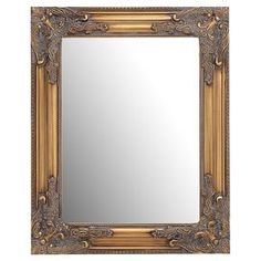 Wood wall mirror with a gold finish and baroque-style corner accents.  Product: MirrorConstruction Material: Wood and mirrored glassColor: Gold