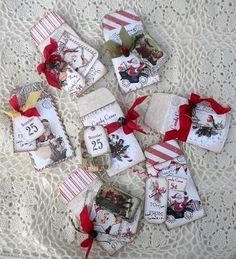 Vintage look Christmas $/gift envelopes. * I added tags, ribbon and rusty bells~~~~~     Images and env. templates found on Etsy (Iralamija shop)
