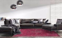 Living Room Louis De Poortere Rug - Scarlet, rich deep pink vintage look modern wool rug.