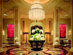 Los Angeles' Beverly Wilshire Beverly Hills is crowned with a glorious chandelier.