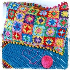 Mini granny square cushion / pillow by The little bee