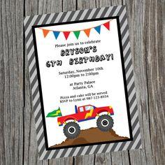 Custom Printable Monster Truck Birthday Party Invitation.  Monster Truck Party Theme Invite