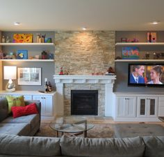 Living Room & Fire Place. Ideas for shelving around a fireplace