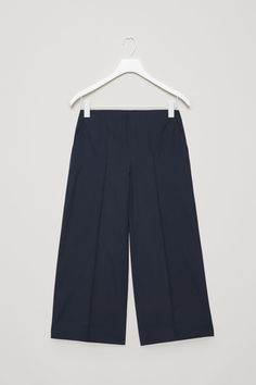 Front image of Cos culottes with pintuck detail in blue
