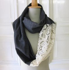 Fabric & lace scarf