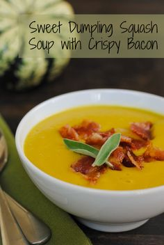 Sweet Dumpling Squash Soup with Crispy Bacon - a blender soup to celebrate fall!