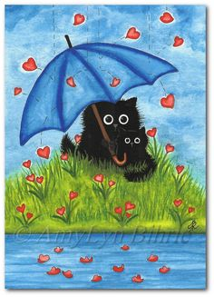 Black Cats  Showered with Love  Art Print or ACEO door AmyLynBihrle
