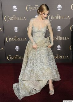 Lily James channels Cinderella in this powder blue Elie Saab gown
