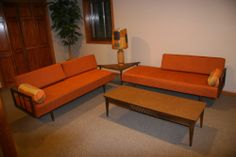 Vintage Mid Century Modern Sectional Sofa Lamp Triangle Table Coffee Table | eBay