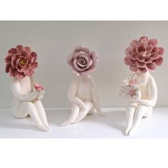 pink glazed clay flower people