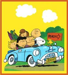 Peanuts gang I wish I was with them headed to the beach.  :)