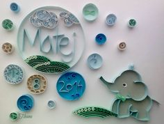 Quilled Name, Baby Elephant, Quilling by Tihana Poljak