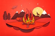 Beautiful illustration for PopChips packaging. - sweet chilli and sour mushroom