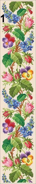 Berlin Woolwork Floral Borders 1, 2, 4, 5 Panel Cross Stitch PDF Pattern