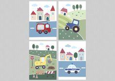 Du suchst noch schöne Wandbilder für Dein Babyzimmer / Kinderzimmer? Dann ist dieses liebevoll gestaltete Kinderbilder Set mit Feuerwehr, Traktor, Bagger und Polizei vielleicht genau das Richtige...
