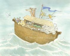 Noah's Ark Art Print - Children's Nursery - Near the Journey's End - 8x10 - Kids Baby Room Decor